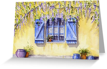 Yellow facade - blue shutters by FranEvans
