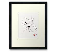 """Sugar Plum""  ink brush painting on paper Framed Print"