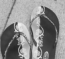 Flip Flops in Black & White by Michelle Lowman
