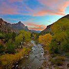 Zion Bridge View at Sunset by Zane Paxton