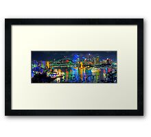 City Of Light - Sydney Harbour Fantasy (25 Exposure HDR Pano)- The HDR Experience Framed Print