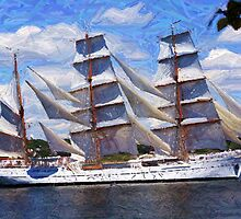 "Old Sails - The ""Sagres"" in Halifax Harbour by Monika Fuchs"