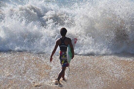 Surf Right In - Stockton Beach NSW Australia by Bev Woodman