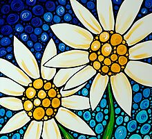 Bathing Beauties - White Daisies Daisy Art Print Blue Mosaic  by Sharon Cummings