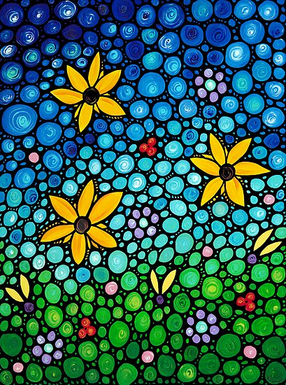 Spring Maidens - Flower Garden Mosaic Landscape Abstract Art Print by Sharon Cummings