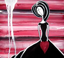 I Love You With All My Heart Abstract Figurative Folk Art by LauraCarterArt