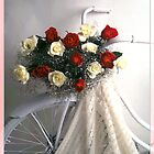 white bike with red/wht roses by alriccio