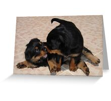 """Rough and Tumble"" Rottweiler Puppies Greeting Card"