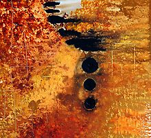 Eternity - Earth Tone Orange Abstract Art Print by Sharon Cummings