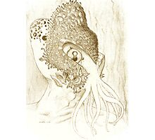 Minion of Cthulhu in Ceremonial Mask sketch Photographic Print
