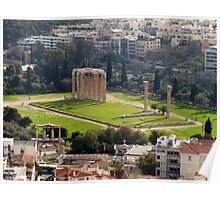 View of The Temple of the Olympian Zeus from the Acropolis Poster