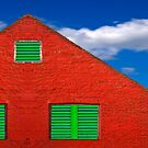 Red House With Green Shutters by John Rocha