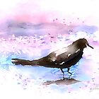 Crow In A Puddle by arline wagner