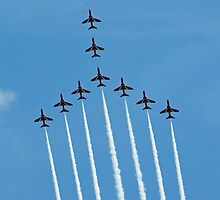 Red Arrows at Cosford 4 by Len Slack