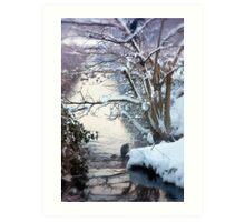 Heron Winter Scene Art Print