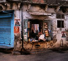 Shopkeeper, Udaipur, India, 6.50am by Reglyons
