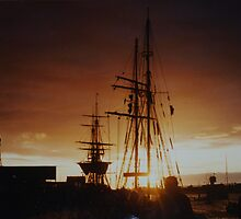 tall ship at sunset by sharon wingard