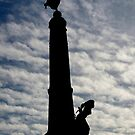 Aberystwyth War memorial silhouetted by buttonpresser