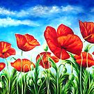 Blue Sky Poppies by Ira Mitchell-Kirk
