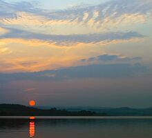 Hazy Sunset at Derwent Reservoir by David Lewins