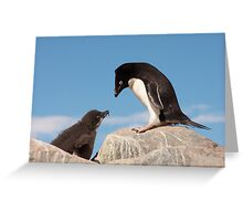 """Adelie Penguin and Chick ~ """"Well......if you say so dad"""" Greeting Card"""
