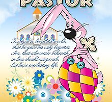 Pastor Easter Card - Easter Bunny Flowers  by Moonlake