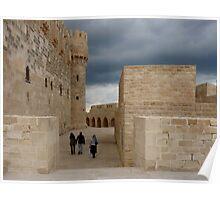 Walking at The Qaitbay Citadel In Alexandria   Poster