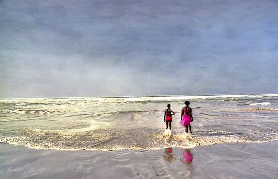 Pink at the Beach, On the Beach in Dakar Senegal by Wayne King
