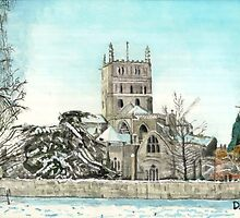 Tewkesbury Abbey in the snow 2010 by doatley