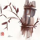 &#x27;Listen&#x27;  original ink wash sumi-e bamboo painting by Rebecca Rees