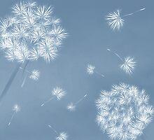 dandelions in the wind by Richard Laschon