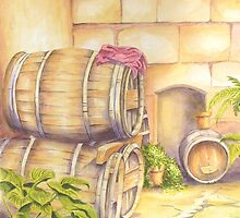 Wine Barrels in Courtyard by FranEvans