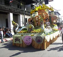 Brilliant Floral Float at Chiang Mai Festival. by Mywildscapepics