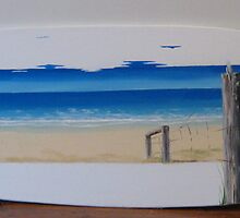 """Narrabeen Beach"" Surfboard by Taniakay"