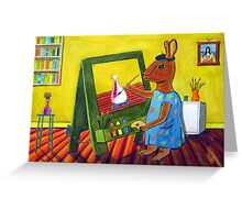 300 - ARTIST BUNNY - DAVE EDWARDS - COLOURED PENCILS & INK - 2010 Greeting Card