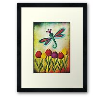 Dragonfly & Tulips Framed Print