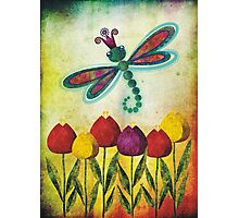 Dragonfly & Tulips Photographic Print