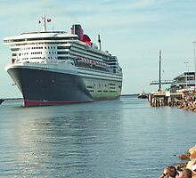 Queen Mary 2 leaving Port Adelaide by Dennis Wetherley