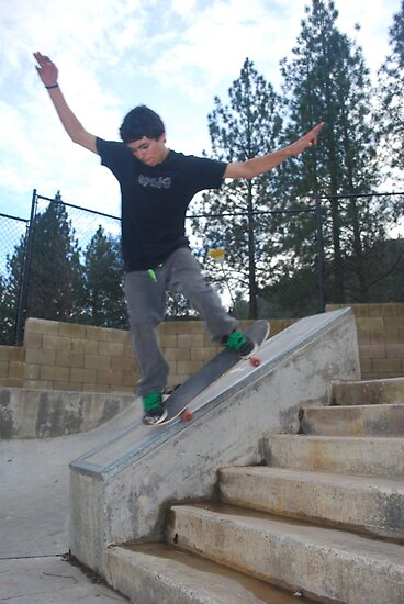 nose grind on the six stair-Mariposa Skate Park by Alan Brazzel