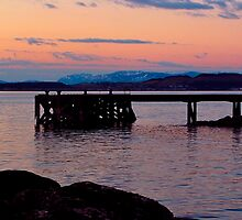Portencross Jetty at sunset  by Fe Messenger
