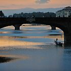 Florence River at Dusk with Gondola by Tom Grieve