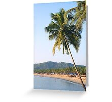 Palm tree over sea and beach Greeting Card