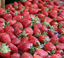 Strawberries in Greek Market in Athens by FuccisPhotos