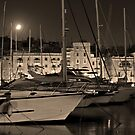 Boats in Grand Harbour By Night by Joanna Beilby
