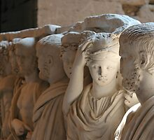 Statues, interior of the Colosseum, Rome by buttonpresser