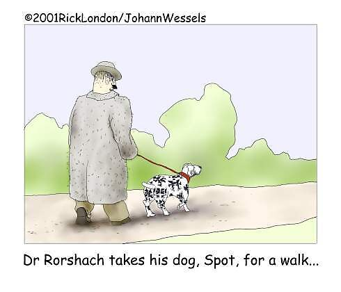 Dr. Roarshach Takes Dog For Walk by Londons Times Cartoons by Rick  London