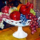 Apples and Grapes on Milk Glass by Jim Phillips