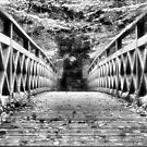 Black and White wooden Bridge taken in Lynmouth, North Devon by janewilkinson