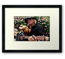 Dachshund and Guitar man in Sausilito Framed Print