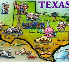 Texas Cartoon Map CARD by Kevin Middleton